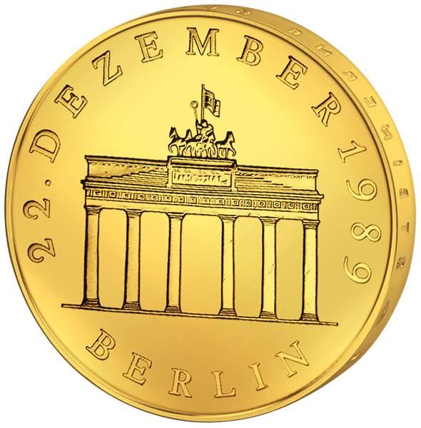 20 Mark DDR Brandenburger Tor 1990 vollvergoldet