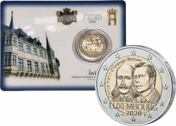 2 Euro Luxemburg 200. Geburtstag von Prinz Heinrich von Oranien-Nassau 2020