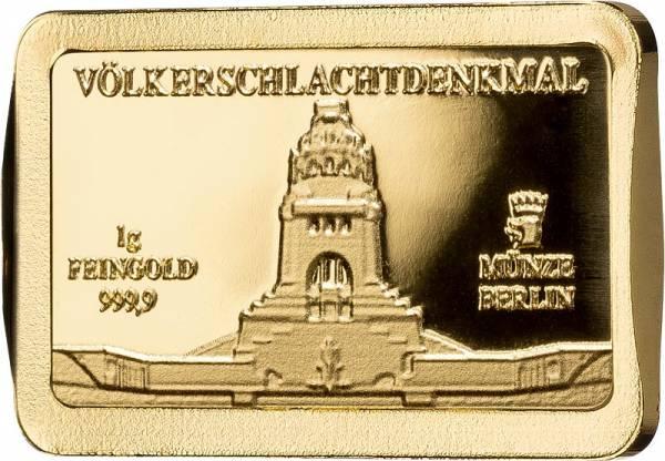1 Gramm Goldbarren Deutsche Wahrzeichen Völkerschlachtdenkmal