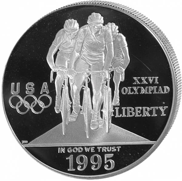 1 Dollar USA Olympiade Atlanta Radfahren 1995 Polierte Platte (PP)