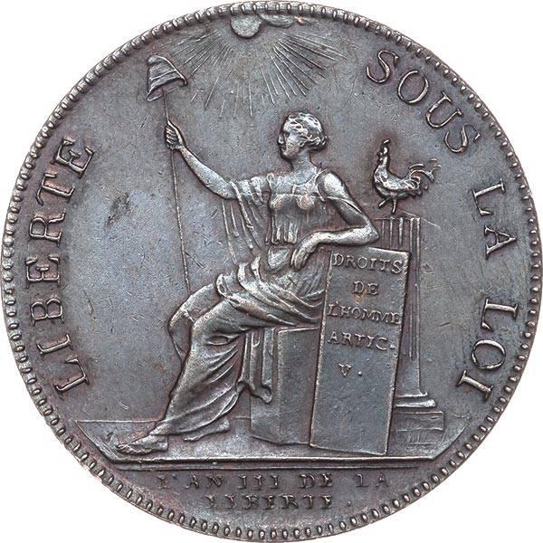 2 Sols Frankreich Notmünze Französische Revolution 1791
