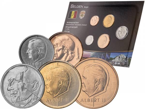 Kursmünzensatz Belgien 1956-2001