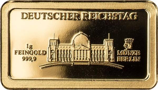 1 Gramm Goldbarren Deutsche Wahrzeichen Deutscher Reichstag