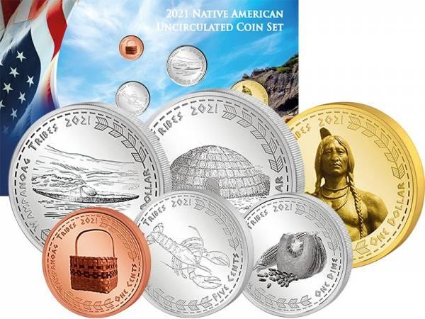 1 Cent - 1 Dollar Kursmünzensatz USA Kursmünzen der Wamponoag 2021
