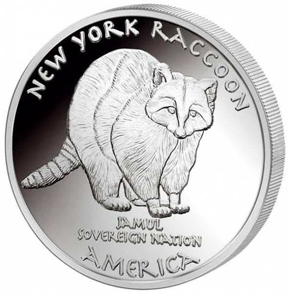 1 Unze Silber USA New York Mohawk Waschbär 2016