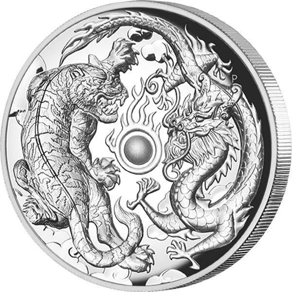 2 Unzen Silber Australien Drache und Tiger 2018