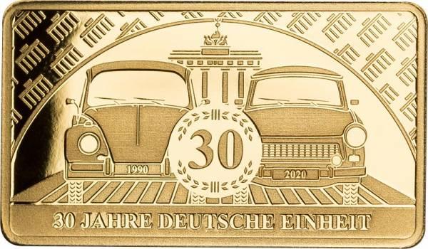 1/100 Unze Goldbarren 30 Jahre Wiedervereinigung 2020