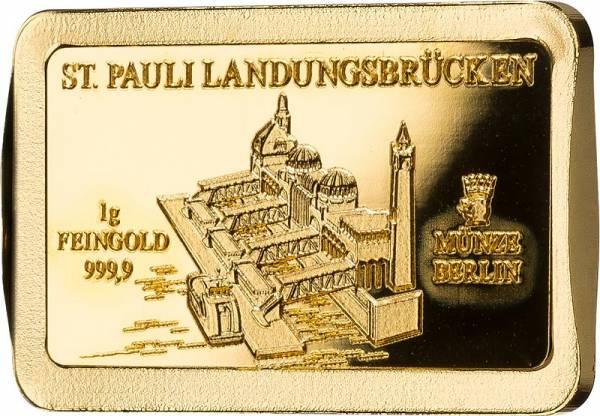 1 Gramm Goldbarren Deutsche Wahrzeichen St. Pauli Landungsbrücken