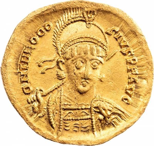Solidus Römisches Kaiserreich Kaiser Theodosius II. 408-425 n. Chr.