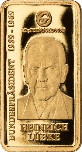0,5 Gramm Goldbarren Heinrich Lübke