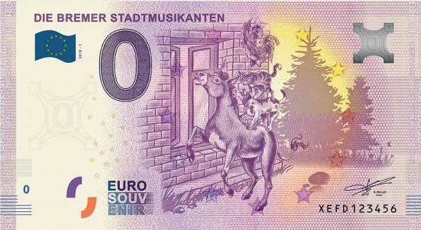 0-Euro-Banknote Bremer Stadtmusikanten 2019