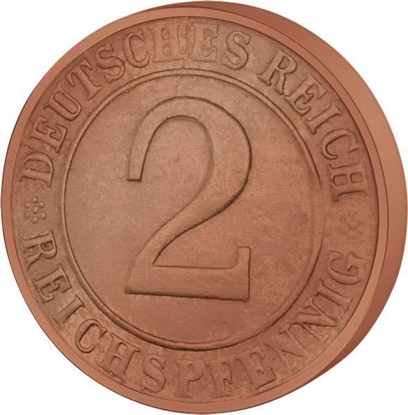 2 Pfennig Weimarer Republik Ähren 1924-1936 ss-vz