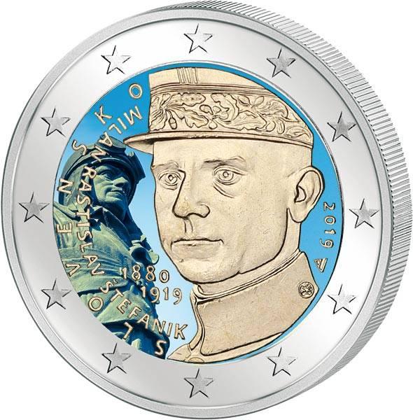 2 Euro Slowakei 100. Todestag von Milan Rastislav Stefanik 2019 mit Farb-Applikation
