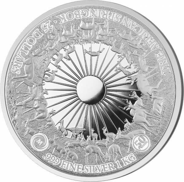 1 Kilo Silber Samoa Springbock 2017