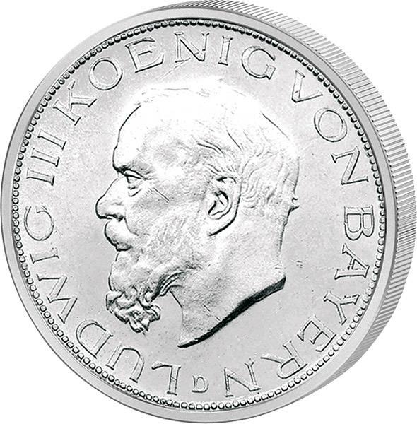 2 Mark Silber Ludwig III. König von Bayern 1914 Vorzüglich