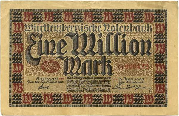 1 Million Mark Württembergische Notenbank 1923