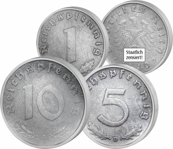 3er Set 1, 5, 10 Reichs-Pfennig Hakenkreuz 1940-1945 Sehr schön
