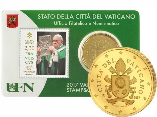 50 Cent Vatikan Stamp und Coincard Papst Franziskus 2017