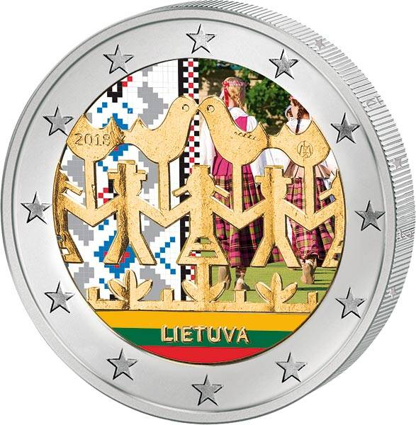 2 Euro Litauen Gesangs- und Tanzfestival 2018 mit Farb-Applikation
