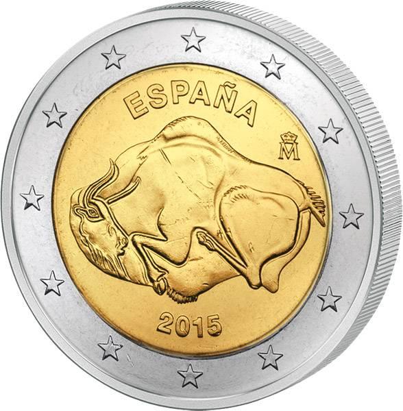 2 Euro Spanien Höhle von Altamira 2015   prägefrisch