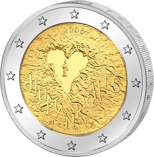 2 Euro Finnland 60 Jahre Menschenrechte 2008 prägefrisch