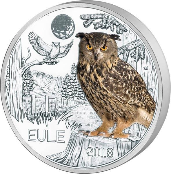 3 Euro Österreich Tier-Taler Eule 2018