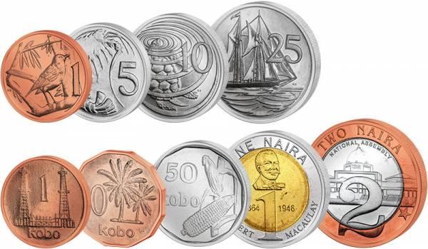 Kursmünzen-Set Kaimaninseln und Nigeria
