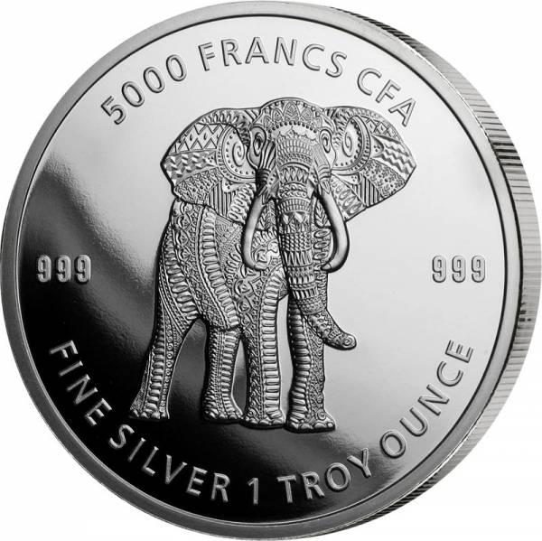 1 Unze Silber Tschad Mandala Elefant 2019