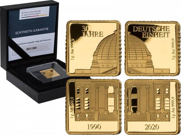 4 x 1 Gramm Goldbarren-Satz 30 Jahre Deutsche Einheit 2020