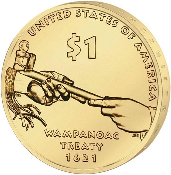 1 Dollar USA Sacagawea Wampanoag Vertrag 1621 2011 Stempelglanz
