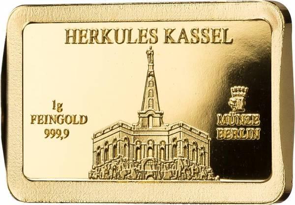 1 Gramm Goldbarren Deutsche Wahrzeichen Herkules Kassel