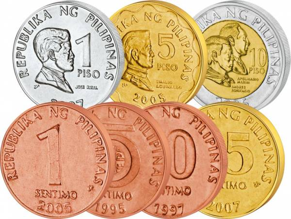 1 Sentimos - 10 Piso Philippinen Kursmünzensatz 1995-2013