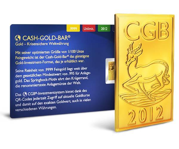 1/100 Unze Springbock Cash Gold Bar® 2012 prägefrisch