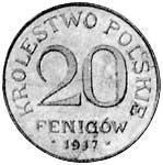 20 Fenigow Polen Reichsadler 1917-1918 Sehr schön
