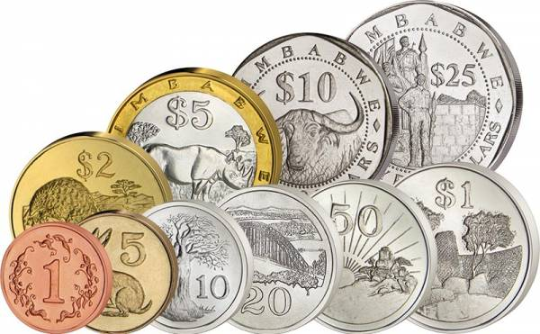 1 Cent - 25 Dollar Kursmünzensatz Simbabwe 1980-2003