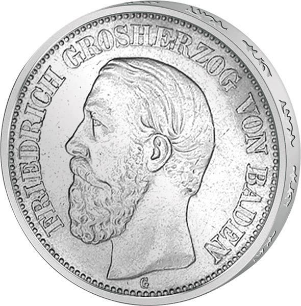 5 Mark Baden Großherzog Friedrich I. 1891-1902 Sehr schön