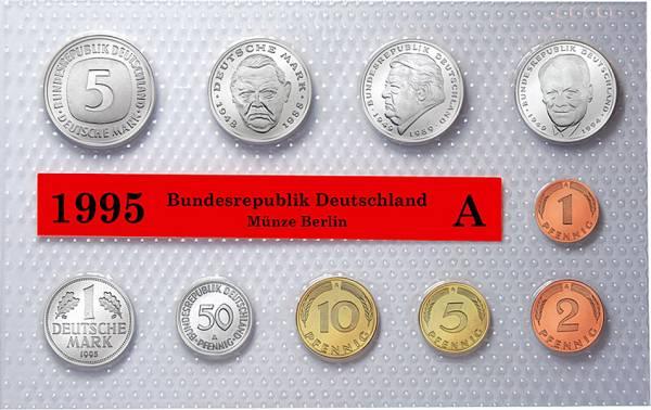 1 Pfennig - 5 DM BRD-Kursmünzensatz 1995