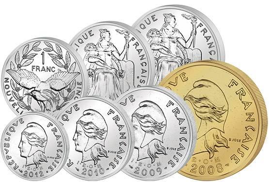 1 - 100 Francs Kursmünzen Neukaledonien 1972-2013