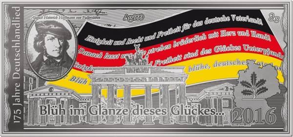 Silbernote 175 Jahre Deutschlandlied