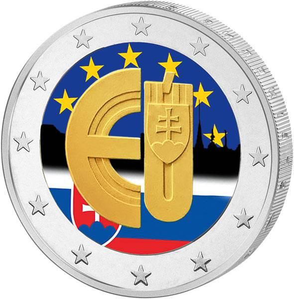 2 Euro Slowakei 10 Jahre EU-Beitritt 2014 mit Farb-Applikation