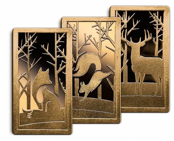 3 x 1 Gramm Goldbarren Heimische Waldtiere