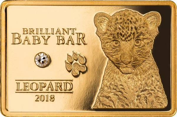5 Dollars Niue Brilliant Baby Bar Leopard 2018 - FOTOMUSTER