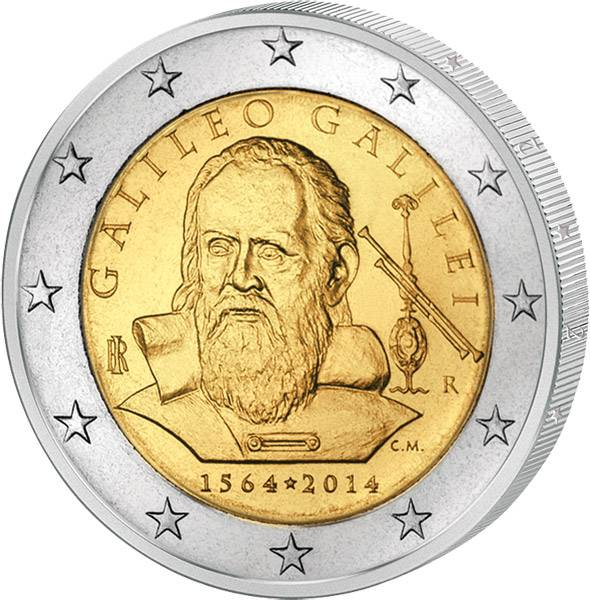 2 Euro Italien 450. Geburtstag Galileo Galilei 2014 prägefrisch