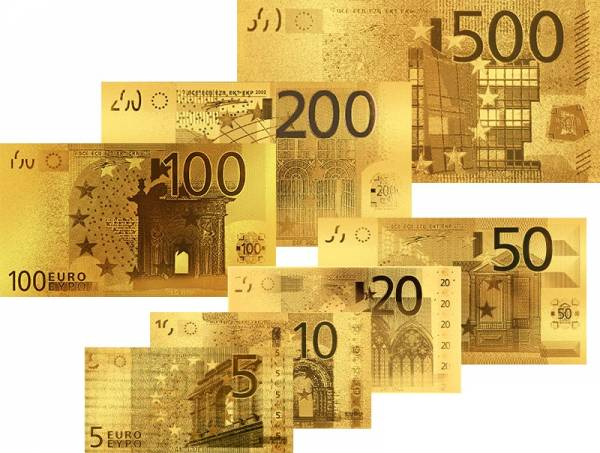 5 - 500 Euro Goldfolienbanknoten-Set