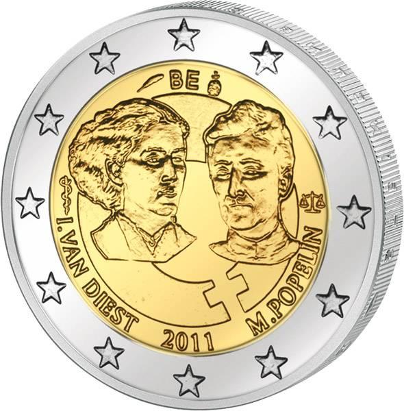 2 Euro Belgien 100. Internationaler Frauentag