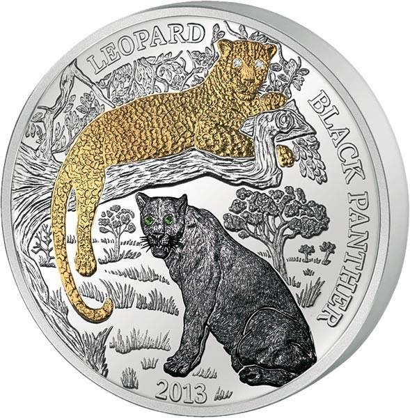 1.000 Francs Ruanda Leopard und Schwarzer Panther 2013
