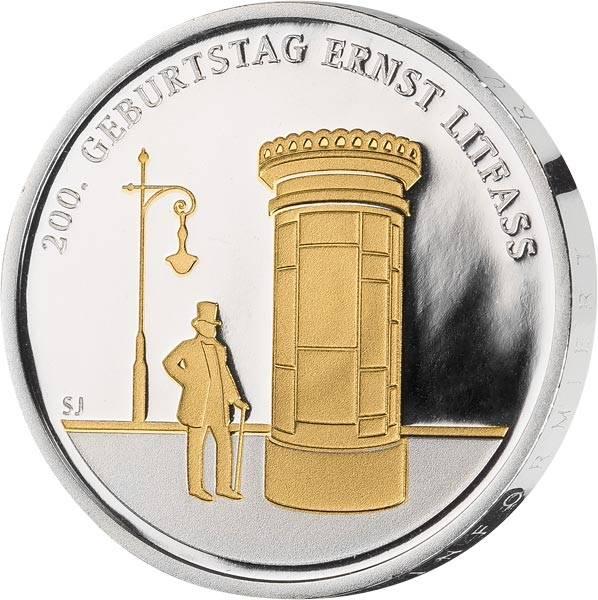 20 Euro BRD 200. Geburtstag Enst Litfaß 2016 mit Gold-Applikation
