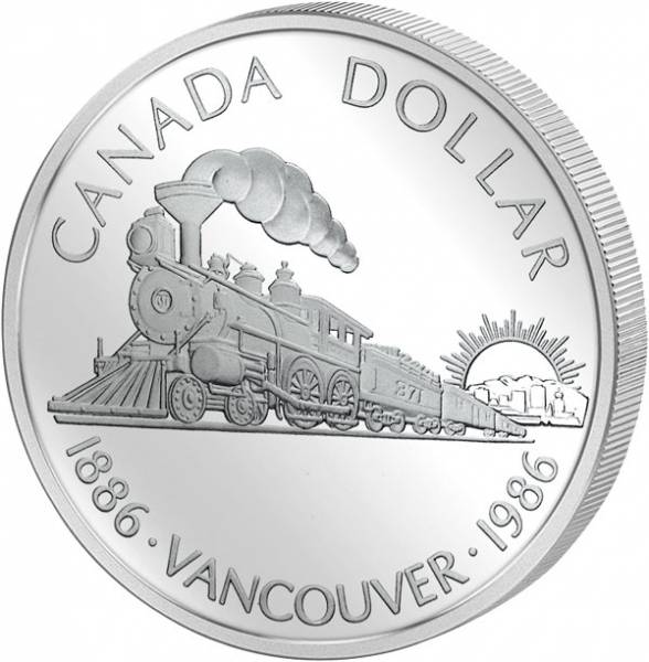 1 Dollar Silberdollar Vancouver 1986  Polierte Platte