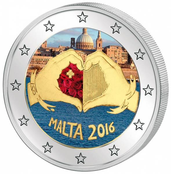 2 Euro Malta Von Kindern mit Solidarität Liebe mit Farb-Applikation 2016