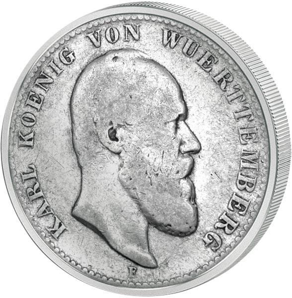 2 Mark Württemberg Karl I. 1876-1888 s-ss